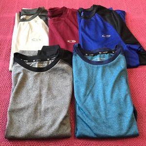 Three Champion and two tek-Gear long sleeve shirts
